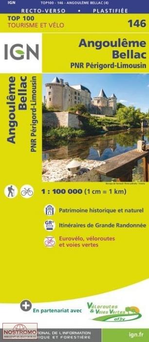 SV-146  Angoulême, Bellac | omgevingskaart / fietskaart 1:100.000 9782758543787  IGN Série Verte 1:100.000  Fietskaarten, Landkaarten en wegenkaarten Vendée, Charente
