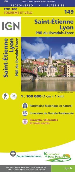 SV-149  Lyon, St-Étienne | omgevingskaart / fietskaart 1:100.000 9782758543794  IGN Série Verte 1:100.000  Fietskaarten, Landkaarten en wegenkaarten Lyon en omgeving