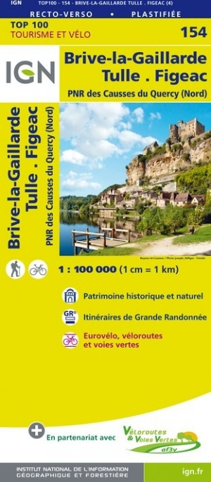 SV-154  Brive-la-Gaillarde, Figeac | omgevingskaart / fietskaart 1:100.000 9782758543800  IGN Série Verte 1:100.000  Fietskaarten, Landkaarten en wegenkaarten Dordogne