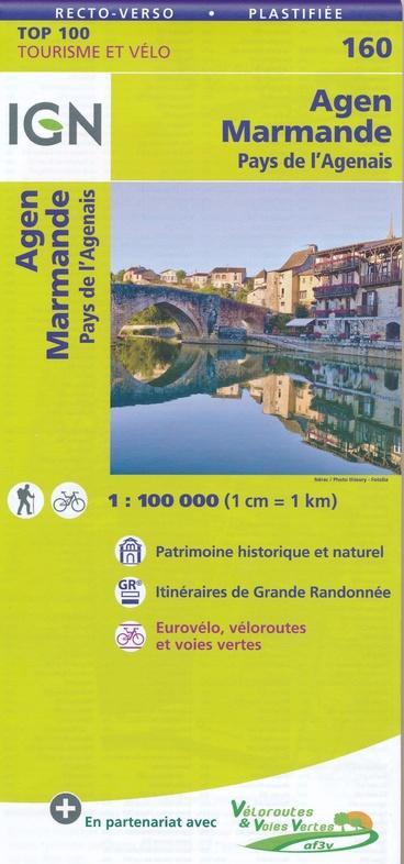 SV-160  Marmande/Agen | omgevingskaart / fietskaart 1:100.000 9782758543817  IGN Série Verte 1:100.000  Fietskaarten, Landkaarten en wegenkaarten Dordogne
