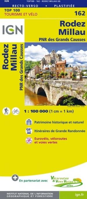 SV-162  Rodez, Millau, Mende | omgevingskaart / fietskaart 1:100.000 9782758543824  IGN Série Verte 1:100.000  Fietskaarten, Landkaarten en wegenkaarten Lot, Tarn, Toulouse
