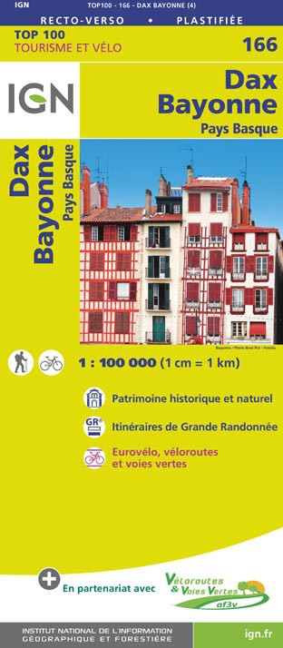 SV-166  Bayonne, Pau | omgevingskaart / fietskaart 1:100.000 9782758543831  IGN Série Verte 1:100.000  Fietskaarten, Landkaarten en wegenkaarten Baskenland