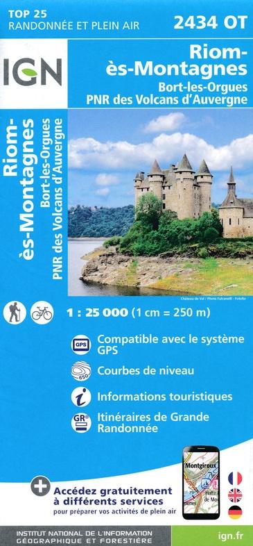 2434OT   Riom-ès-Montagnes | wandelkaart 1:25.000 9782758544586  IGN IGN 25 Auvergne  Wandelkaarten Auvergne