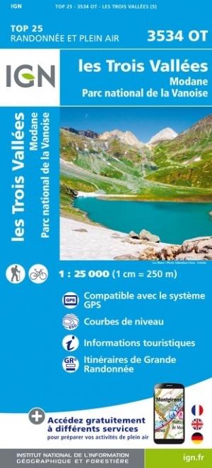 3534OT  les Trois Vallées, Modane | wandelkaart 1:25.000 9782758545644  IGN TOP 25  Wandelkaarten Franse Alpen: noord