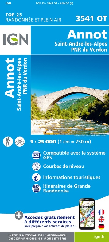 3541OT  Annot, St-André-les-Alpes | wandelkaart 1:25.000 9782758545699  IGN IGN 25 Franse Alpen/ zuidhelft  Wandelkaarten Franse Alpen: zuid