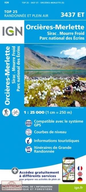3437ET Orcières, Sirac, Mourre Froid | wandelkaart 1:25.000 9782758546719  IGN TOP 25  Wandelkaarten Franse Alpen: zuid