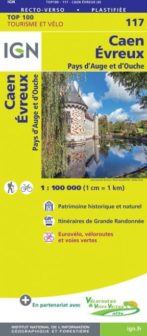 SV-117  Caen, Evreux | omgevingskaart / fietskaart 1:100.000 9782758547518  IGN Série Verte 1:100.000  Fietskaarten, Landkaarten en wegenkaarten Normandië
