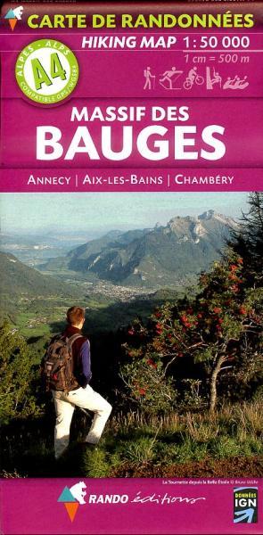 A-4  Massif des Bauges 1:50.000 9782841823178  Rando Ed. Cartes de Randonnée  Wandelkaarten Franse Alpen: noord