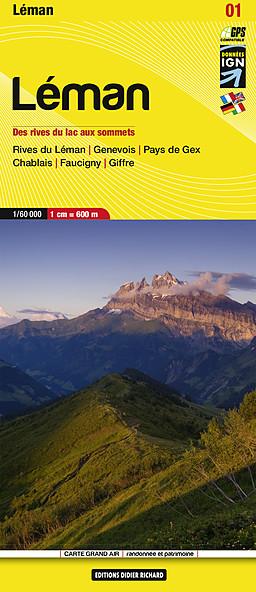 LB-01  Rives du Léman | wandelkaart 1:50.000 9782847990232  Libris Éditions Didier Richard  Wandelkaarten Franse Alpen: noord