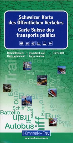 Zwitserland kaart openbaar vervoer 1:275.000 9783259001264  Kümmerly & Frey   Landkaarten en wegenkaarten Zwitserland