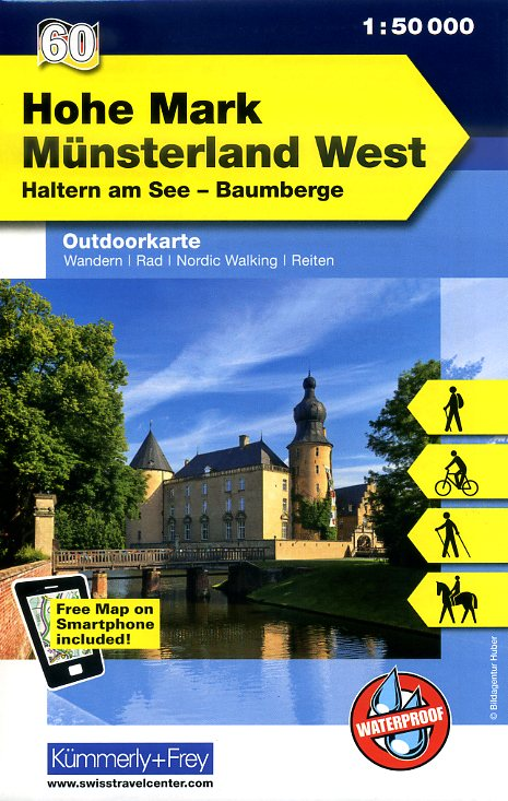 Münsterland West en Hohe Mark 1:50.000 9783259007457  Kümmerly & Frey   Wandelkaarten Münsterland, Bentheim