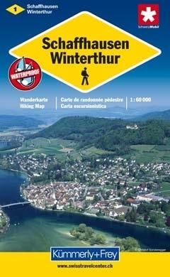 KFW-01  Schaffhausen, Winterthur | wandelkaart / overzichtskaart 9783259008775  Kümmerly & Frey Wandelkaarten Zwitserland  Wandelkaarten Basel, Zürich, Noord-Zwitserland