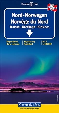 KFN-5  Noord-Noorwegen 1:400.000 9783259010358  Kümmerly & Frey Cappelens Kart  Landkaarten en wegenkaarten Noorwegen boven de Sognefjord