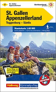 KFW-07  St.Gallen, Appenzell | wandelkaart / overzichtskaart 9783259022078  Kümmerly & Frey Wandelkaarten Zwitserland  Wandelkaarten Midden- en Oost-Zwitserland