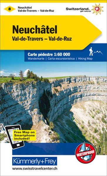 KFW-08   Val de Travers, Neuchâtel | wandelkaart / overzichtskaart 9783259022085  Kümmerly & Frey Wandelkaarten Zwitserland  Wandelkaarten Berner Oberland, Basel, Jura, Genève