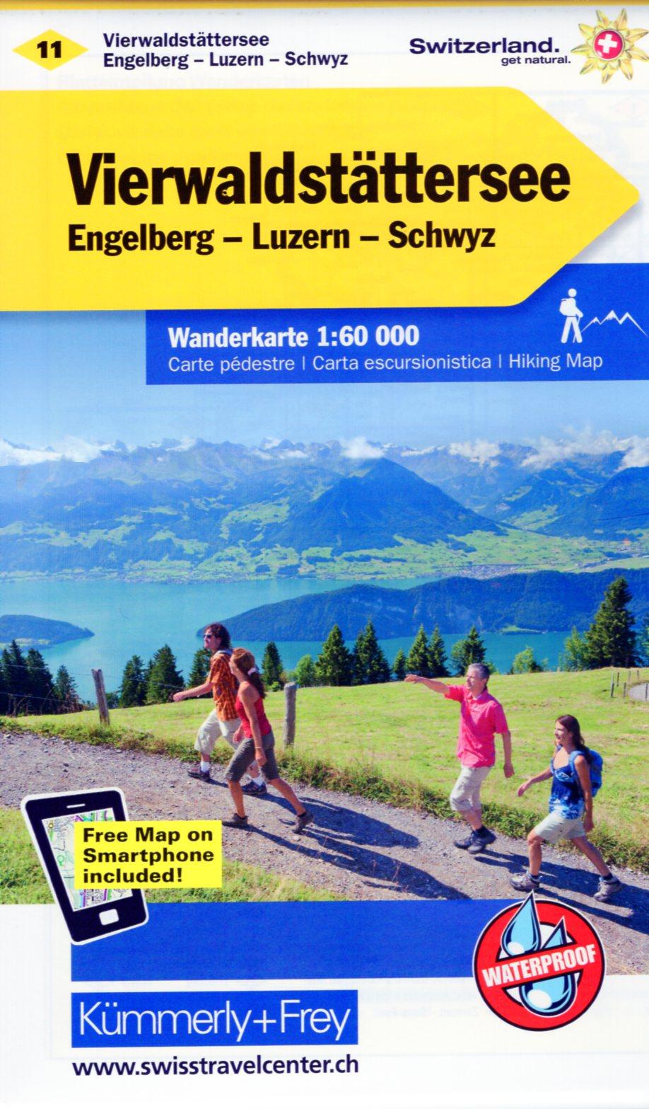 KFW-11  Vierwaldstättersee | wandelkaart / overzichtskaart 9783259022115  Kümmerly & Frey Wandelkaarten Zwitserland  Wandelkaarten Midden- en Oost-Zwitserland