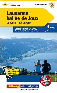KFW-15  Lausanne - Vallée de Joux | wandelkaart / overzichtskaart 9783259022153  Kümmerly & Frey Wandelkaarten Zwitserland  Wandelkaarten Berner Oberland, Basel, Jura, Genève