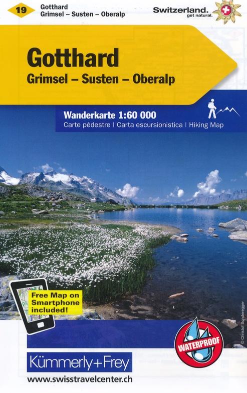 KFW-19  Gotthard, Grimsel | wandelkaart / overzichtskaart 9783259022191  Kümmerly & Frey Wandelkaarten Zwitserland  Wandelkaarten Berner Oberland, Basel, Jura, Genève