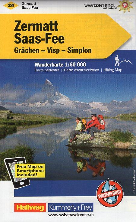KFW-24  Zermatt - Saas Fee | wandelkaart / overzichtskaart 9783259022245  Kümmerly & Frey Wandelkaarten Zwitserland  Wandelkaarten Wallis