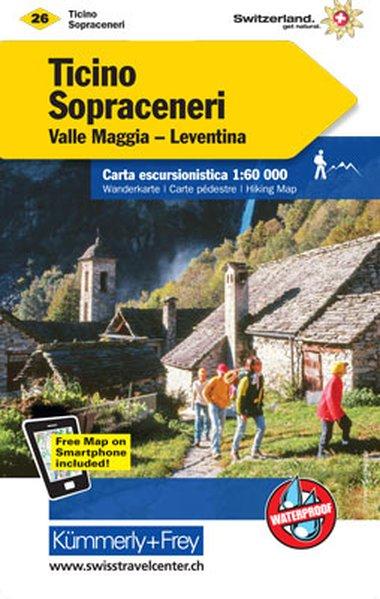 KFW-26  Tessin/Sopraceneri (Nordblatt) | wandelkaart / overzichtskaart 9783259022269  Kümmerly & Frey Wandelkaarten Zwitserland  Wandelkaarten Tessin, Ticino