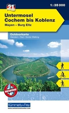 Bl.21 Untermosel, Cochem bis Koblenz 1:35.000 9783259025215  Kümmerly & Frey   Wandelkaarten Moezel, van Trier tot Koblenz
