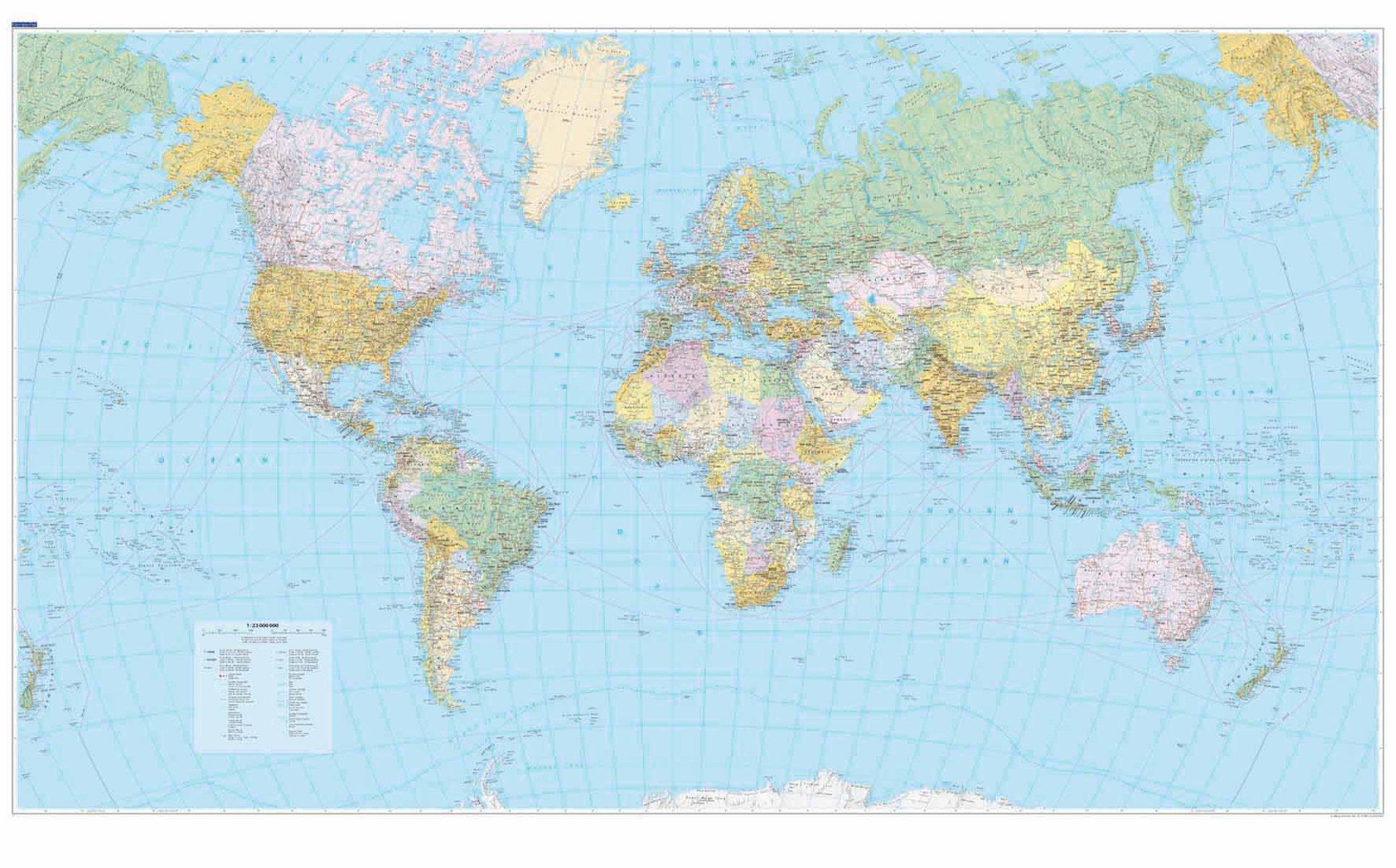 [12] Wereldkaart Staatkundig 1:23m. 9783259940044  Kümmerly & Frey   Wandkaarten Wereld als geheel
