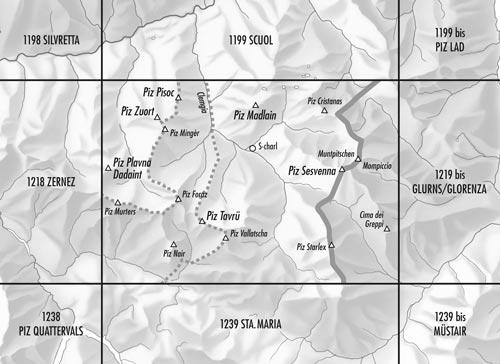CH-1219  S-Charl [2017] topografische wandelkaart 9783302012193  Bundesamt / Swisstopo LKS 1:25.000  Wandelkaarten Graubünden, Tessin