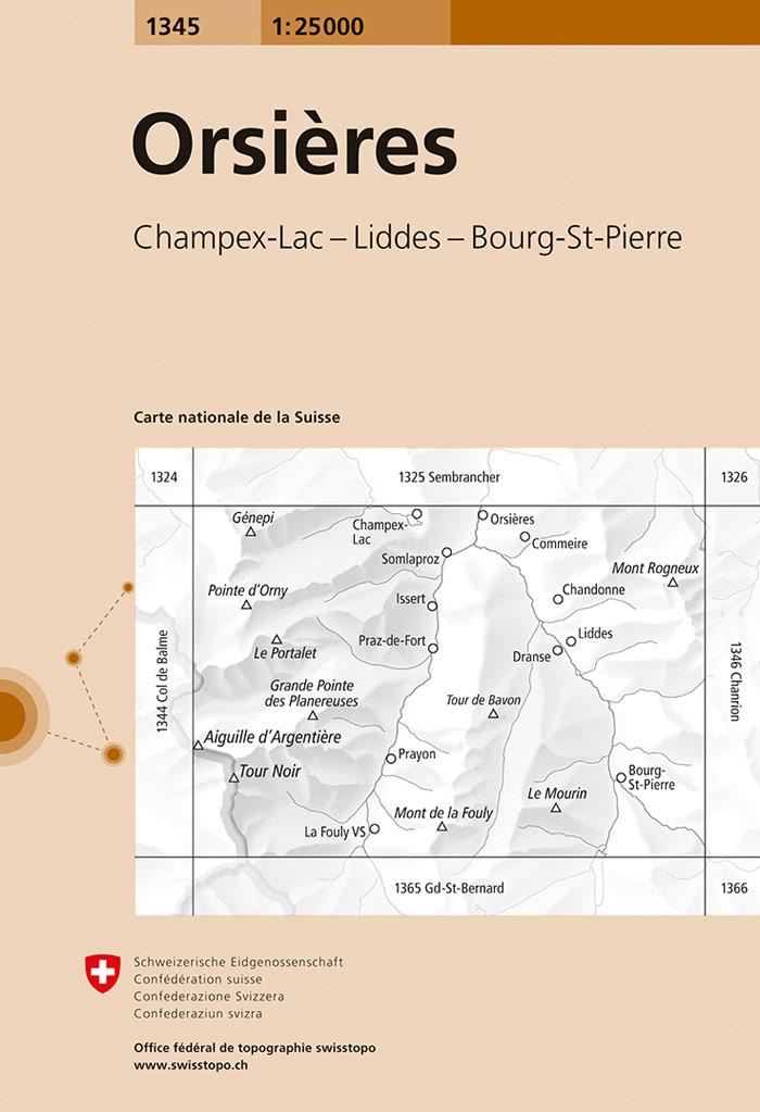 CH-1345  Orsières, Bourg-St-Pierre, Champex [2018] topografische wandelkaart 9783302013459  Bundesamt / Swisstopo LKS 1:25.000  Wandelkaarten Wallis