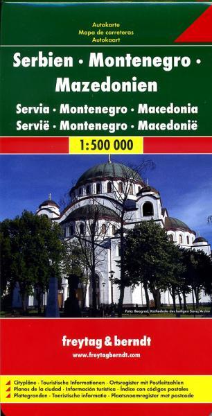 Servië, Montenegro, Macedonië | autokaart, wegenkaart 1:500.000 9783707904314  Freytag & Berndt   Landkaarten en wegenkaarten Servië, Bosnië-Hercegovina, Macedonië, Kosovo, Montenegro