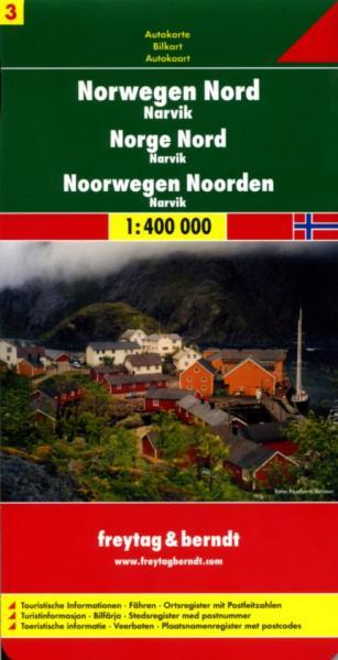 FBN3  Noorwegen Noord | autokaart, wegenkaart 1:400.000 9783707904642  Freytag & Berndt FBN Veikart  Landkaarten en wegenkaarten Noorwegen boven de Sognefjord