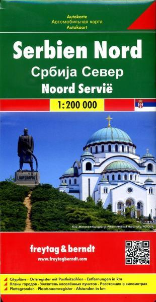 Serbien Nord (Servie Noord) | autokaart, wegenkaart 1:200.000 9783707912777  Freytag & Berndt   Landkaarten en wegenkaarten Servië, Bosnië-Hercegovina, Macedonië, Kosovo, Montenegro