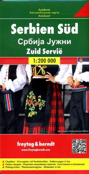 Serbien Süd (Servie Zuid) | autokaart, wegenkaart 1:200.000 9783707912784  Freytag & Berndt   Landkaarten en wegenkaarten Servië, Bosnië-Hercegovina, Macedonië, Kosovo, Montenegro