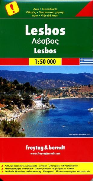 Lesbos | autokaart, wandelkaart 1:50.000 9783707913309  Freytag & Berndt   Landkaarten en wegenkaarten, Wandelkaarten Egeïsche Eilanden