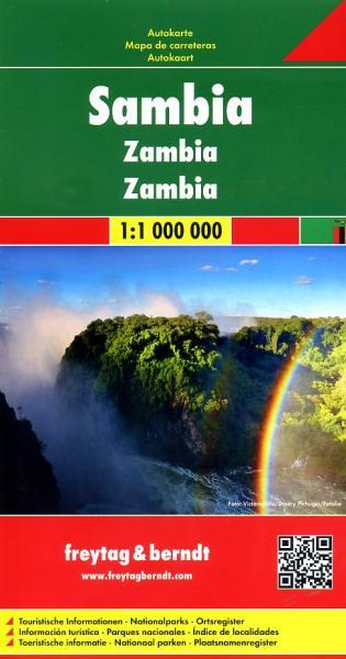 Zambia  | autokaart, wegenkaart 1:1.000.000 9783707913828  Freytag & Berndt   Landkaarten en wegenkaarten Angola, Zimbabwe, Zambia, Mozambique, Malawi