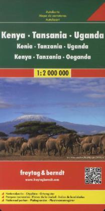 Kenia/Tanzania/Uganda   autokaart, wegenkaart 1:2m. 9783707913880  Freytag & Berndt   Landkaarten en wegenkaarten Oost-Afrika