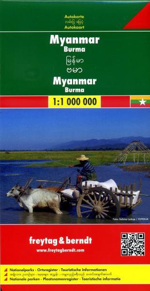 Myanmar (Birma) | autokaart, wegenkaart 1:1.200.000 9783707914061  Freytag & Berndt   Landkaarten en wegenkaarten Birma (Myanmar)
