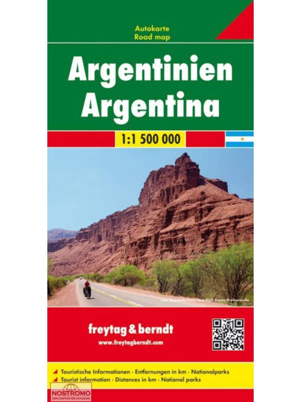 Argentinië | wegenkaart, autokaart 1:1.900.000 9783707914313  Freytag & Berndt   Landkaarten en wegenkaarten Chili, Argentinië, Patagonië