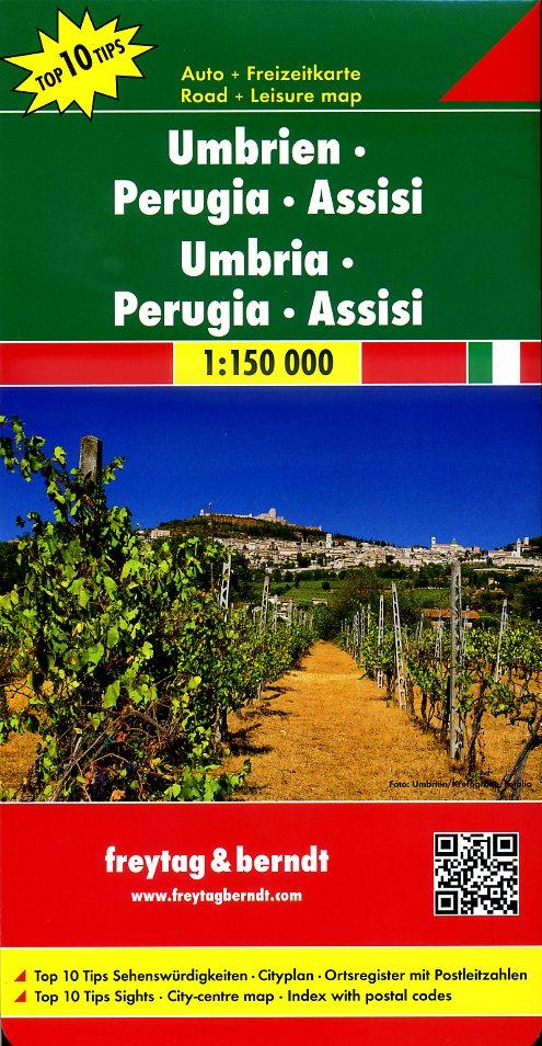 Umbria, Perugia | autokaart, wegenkaart 1:150.000 9783707914887  Freytag & Berndt Italië Wegenkaarten  Landkaarten en wegenkaarten Umbrië