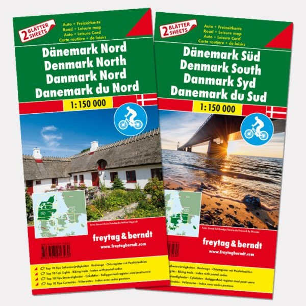 Denemarken 1:150.000 | autokaart, wegenkaart 9783707916560  Freytag & Berndt   Fietskaarten, Landkaarten en wegenkaarten Denemarken