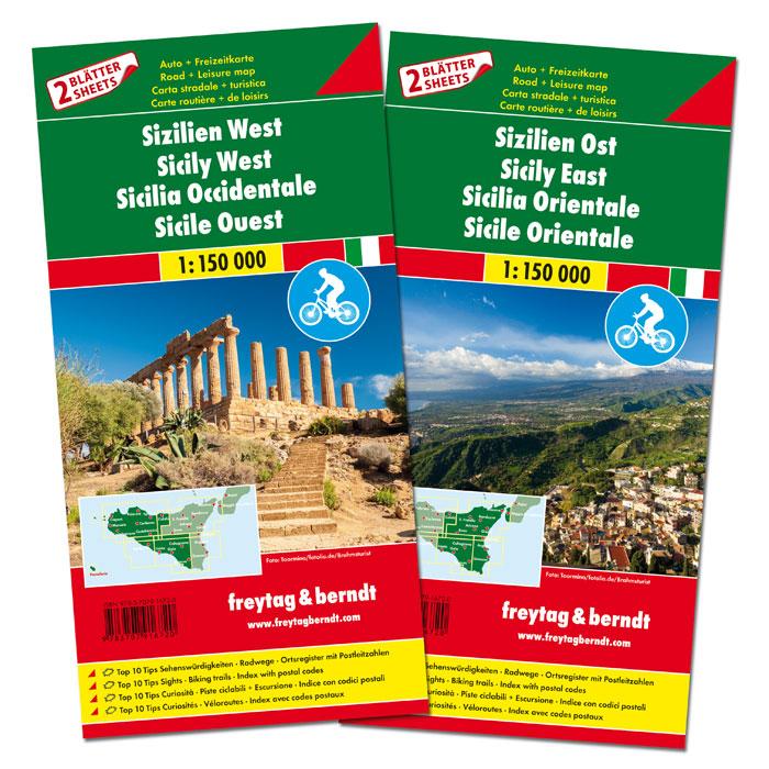 Sicilië, oost en west 1:150.000 9783707916720  Freytag & Berndt   Fietskaarten Sicilië