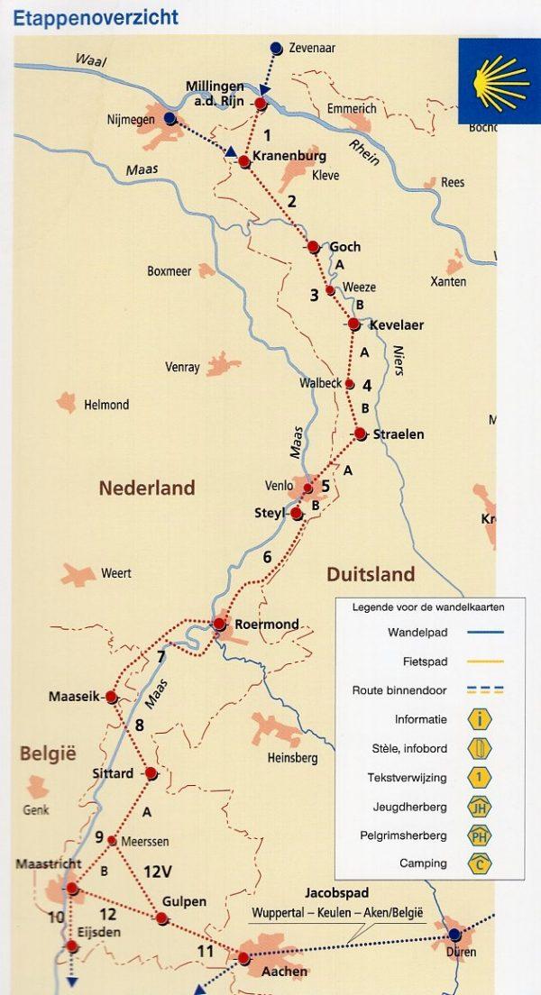 Jacobspad deel 3: Millingen - Maastricht 9783761616741  Bachem   Santiago de Compostela, Wandelgidsen Niederrhein, Zuid Nederland
