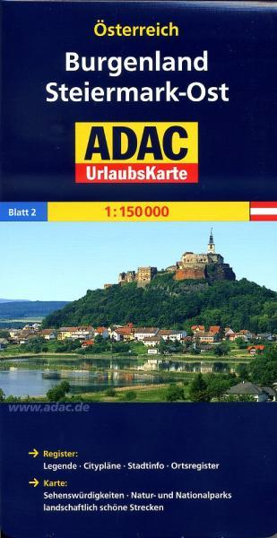 AO-2 Burgenland, Steiermark-Ost 9783826416385  ADAC Österr. 1:150.000  Landkaarten en wegenkaarten Wenen, Noord- en Oost-Oostenrijk