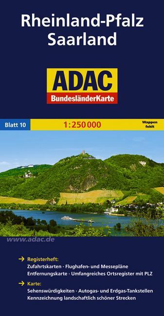 Rheinland-Pfalz, Saarland 1:250.000 9783826423222  ADAC Bundesländerkarten  Landkaarten en wegenkaarten Rheinland-Pfalz