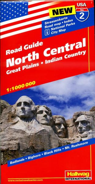 USA-02  North Central 1:1.000.000 9783828307537  Hallwag USA Road Guides  Landkaarten en wegenkaarten Grote Meren, Chicago, Centrale VS –Noord