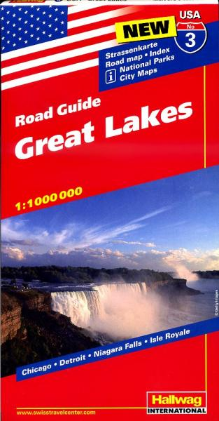 USA-03  Great Lakes States 1:1.200.000 9783828307544  Hallwag USA Road Guides  Landkaarten en wegenkaarten Grote Meren, Chicago, Centrale VS –Noord