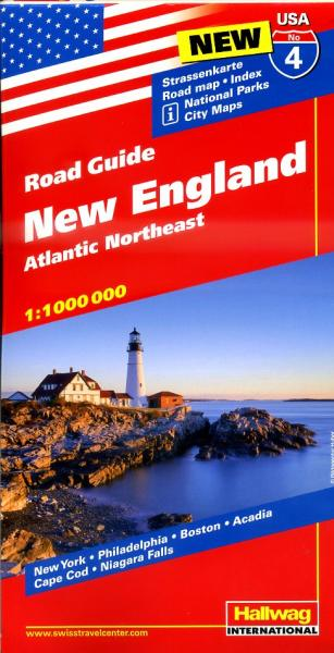 USA-04  New England / Atlantic N.E. 1:1.000.000 9783828307551  Hallwag USA Road Guides  Landkaarten en wegenkaarten New England