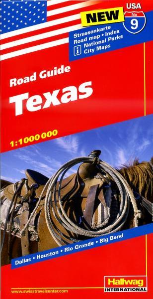 USA-09  Texas 1:1.000.000 9783828307605  Hallwag USA Road Guides  Landkaarten en wegenkaarten Centrale VS – Zuid (Texas)
