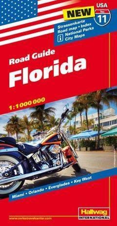 USA-11  Florida 1:1.000.000 9783828307629  Hallwag USA Road Guides  Landkaarten en wegenkaarten Florida