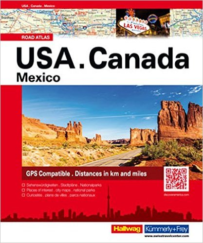 USA wegenatlas 9783828308350  Hallwag   Wegenatlassen Canada, Verenigde Staten