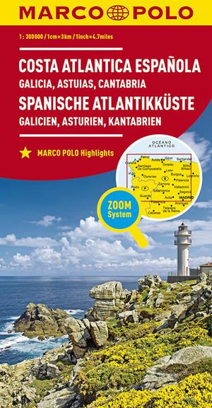 Spaanse Atlantische Kust 1:300.000 9783829737999  Marco Polo (D)   Landkaarten en wegenkaarten, Santiago de Compostela Noordwest-Spanje